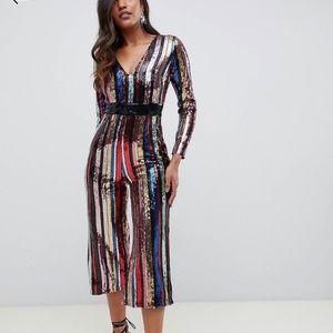 Starlet Plunge Culotte Jumpsuit in Rainbow Stripe